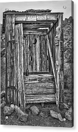 Western Outhouse Bw Acrylic Print by Susan Candelario