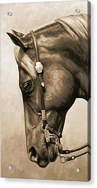 Western Pleasure Horse Phone Case In Sepia Acrylic Print by Crista Forest