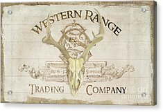Acrylic Print featuring the painting Western Range 3 Old West Deer Skull Wooden Sign Trading Company by Audrey Jeanne Roberts