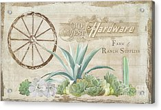 Acrylic Print featuring the painting Western Range 4 Old West Desert Cactus Farm Ranch  Wooden Sign Hardware by Audrey Jeanne Roberts