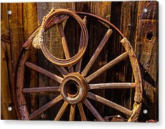 Western Rope And Wooden Wheel Acrylic Print by Garry Gay