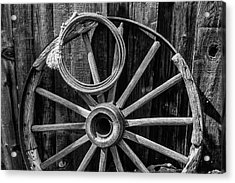 Western Rope And Wooden Wheel In Black And White Acrylic Print by Garry Gay