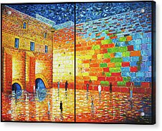 Acrylic Print featuring the painting Western Wall Jerusalem Wailing Wall Acrylic Painting 2 Panels by Georgeta Blanaru