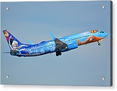 Westjet Boeing 737-8ct C-gwsv Frozen Phoenix Sky Harbor January 29 2016 Acrylic Print by Brian Lockett