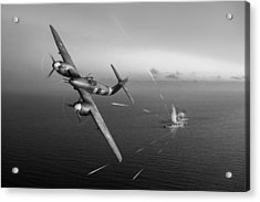 Acrylic Print featuring the photograph Westland Whirlwind Attacking E-boats Black And White Version by Gary Eason