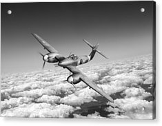 Acrylic Print featuring the photograph Westland Whirlwind Portrait Black And White Version by Gary Eason