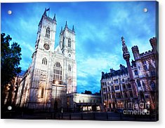 Westminster Abbey Church Facade At Night, London Uk. Acrylic Print by Michal Bednarek