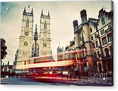 Westminster Abbey Church, Red Bus Moving In London Uk. Vintage Acrylic Print by Michal Bednarek