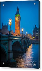 Westminster Bridge At Night Acrylic Print by Inge Johnsson