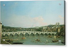 Westminster Bridge From The North With Lambeth Palace In Distance Acrylic Print by Canaletto