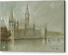 Westminster Palace And Big Ben London Acrylic Print by Juan Bosco