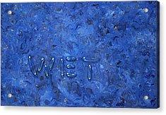 WET Acrylic Print by James W Johnson