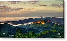 Acrylic Print featuring the photograph Looking Glass Rock Sunrise Between The Clouds Blue Ridge Parkway by Reid Callaway