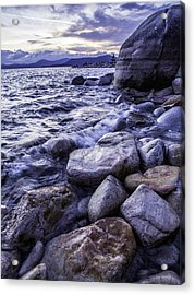 Wet Rocks At Sunset Acrylic Print
