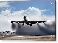 Wet Takeoff Kc-135 Acrylic Print by Peter Chilelli