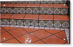 Wet Tile Steps Acrylic Print by Jean Booth