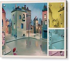 Wet Town Acrylic Print