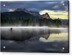 Wetterstein Mountain Reflection During Autumn Day With Morning Fog Over Geroldsee Lake, Bavarian Alps, Bavaria, Germany. Acrylic Print