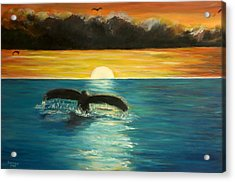 Whale Tail At Sunset  Acrylic Print by Bernadette Krupa