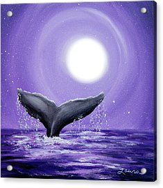 Whale Tail In Lavender Moonlight Acrylic Print by Laura Iverson