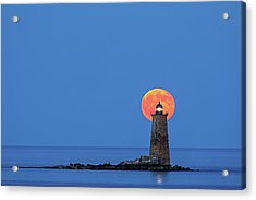 Acrylic Print featuring the photograph Whaleback Lighthouse With Buck Full Moon by Juergen Roth