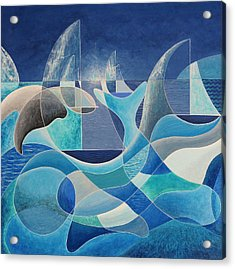 Whales In The Midnight Sun Acrylic Print by Douglas Pike