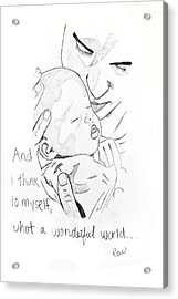 Acrylic Print featuring the drawing What A Wonderful World by Rebecca Wood