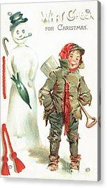 What Cheer For Christmas  Victorian Christmas Card Acrylic Print
