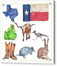 What Texas Loves, Texas Longhorn Watercolor Painting By Kmcelwaine Acrylic Print