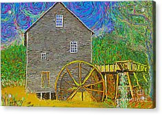 Acrylic Print featuring the painting Water Wheel  by Hidden Mountain