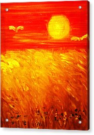 Acrylic Print featuring the painting Wheat Field by Evelina Popilian