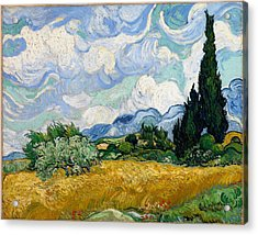 Acrylic Print featuring the painting Wheatfield With Cypresses by Van Gogh