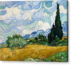 Wheat Field With Cypresses Acrylic Print
