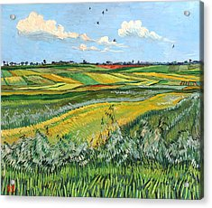 Wheat Fields And Clouds Acrylic Print by Vitali Komarov