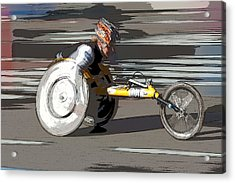 Wheelchair Racer Acrylic Print by Clarence Holmes
