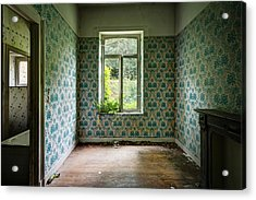 When Nature Takes Over  Vintage Wallpaper- Urban Exploration Acrylic Print by Dirk Ercken