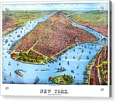 When New York Was Flat, Vintage Map, 1879 Acrylic Print