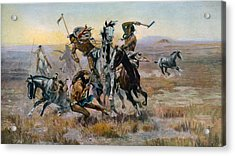 When Sioux And Blackfeet Met, Battle Acrylic Print