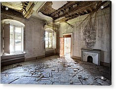 When The Ceiling Comes Down - Urban Exploration Acrylic Print by Dirk Ercken