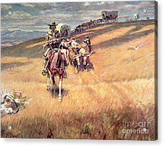 When Wagon Trails Were Dim Acrylic Print by Charles Marion Russell