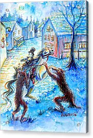 Acrylic Print featuring the painting When Werewolves Attack by Heather Calderon