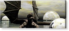 Where Dragons Be Acrylic Print by Sandra Bauser Digital Art