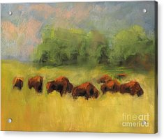 Acrylic Print featuring the painting Where The Buffalo Roam by Frances Marino