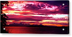 Whidbey Red Sky Morning Acrylic Print by Mary Gaines