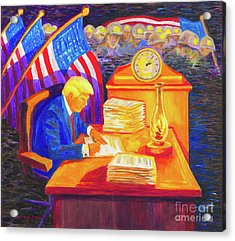 While America Sleeps - President Donald Trump Working At His Desk By Bertram Poole Acrylic Print by Thomas Bertram POOLE