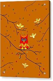 Whimsical Autumn Colors - Birds Owls Acrylic Print