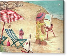 Acrylic Print featuring the painting Whimsical Bear On The Beach by Judith Cheng