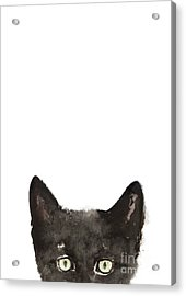Whimsical Cat Poster, Funny Animal Black Cat Drawing, Peeking Cat Art Print, Animals Painting Acrylic Print by Joanna Szmerdt
