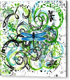 Whimsical Dragonflies Acrylic Print by Genevieve Esson