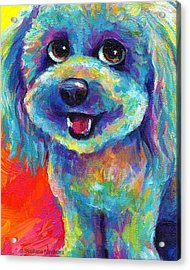 Whimsical Labradoodle Painting By Acrylic Print